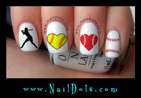 Softball Nail Art - Sport Nail Decals - Nail Decals - Nail Dots - Nail Stickers - Nail